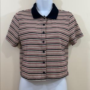 Wild Fable Button Up Striped Crop Shirt Size M